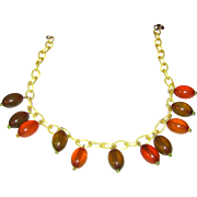 Bakelite Necklace with Transparent Dangles on Celluloid Chain