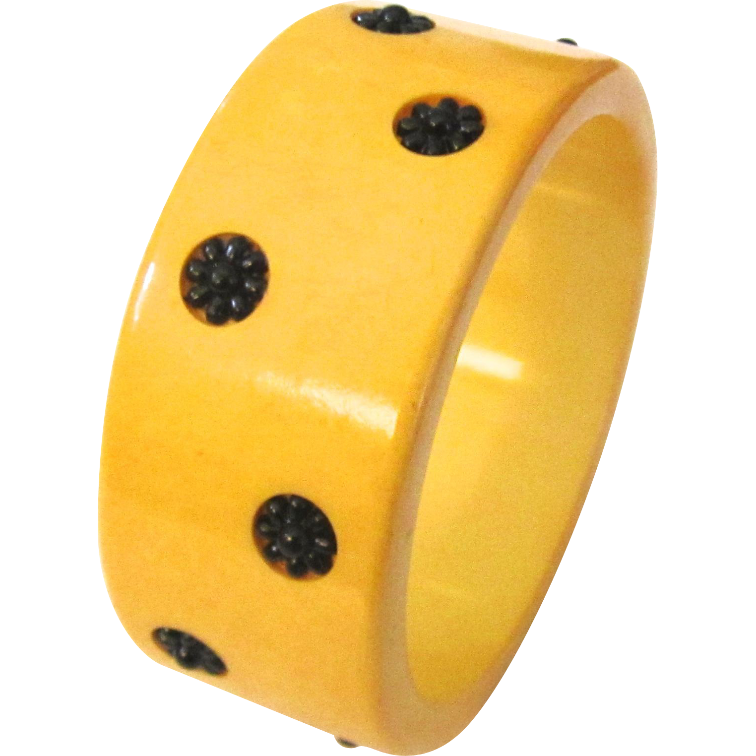 Bakelite Bangle Bracelet with Flowers Laugh-In Style