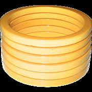 Set of Six Cream Bakelite Sliced Spacer Bangle Bracelets