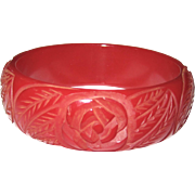 True Red Rose Carved Bakelite Bangle Bracelet
