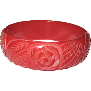 True Red Rose Carved Bakelite Bangle Bracelet