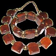 Marbled Bakelite Necklace and Bracelet Set