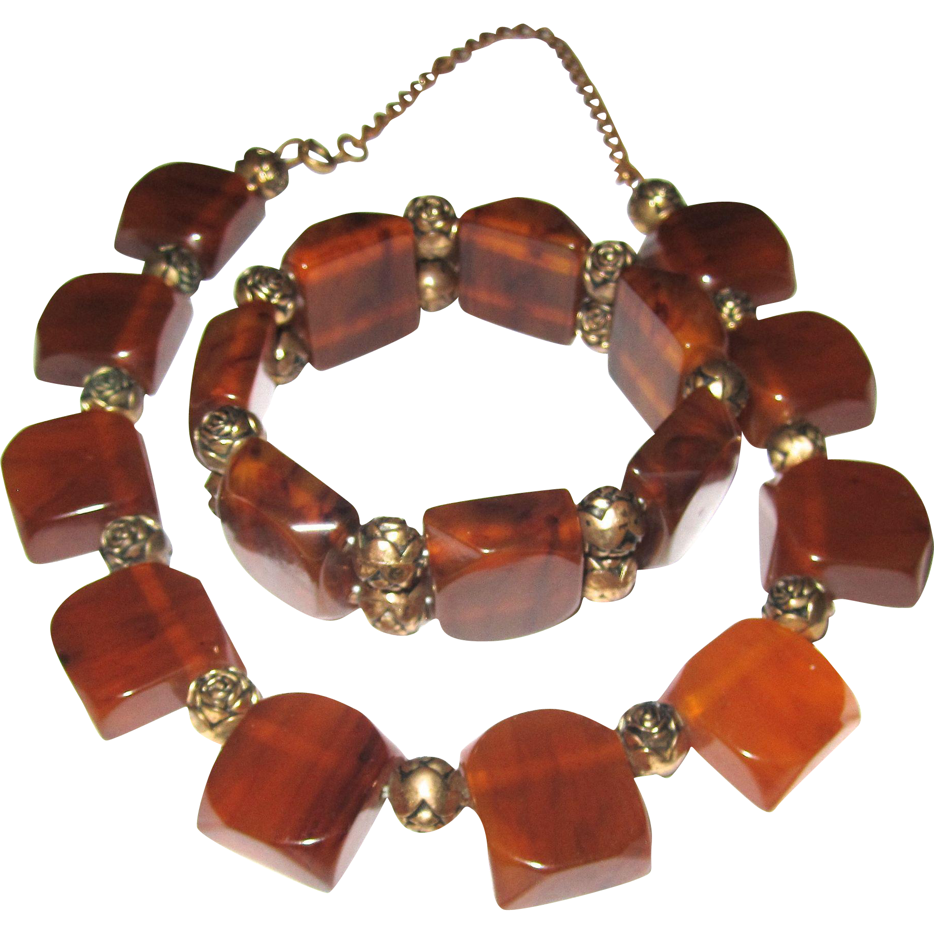 Marbled Bakelite Necklace and Bracelet Set