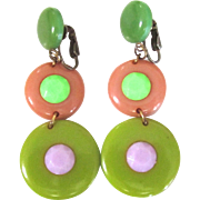 Hard to Find Bakelite Clip Earrings with Dangling Disks