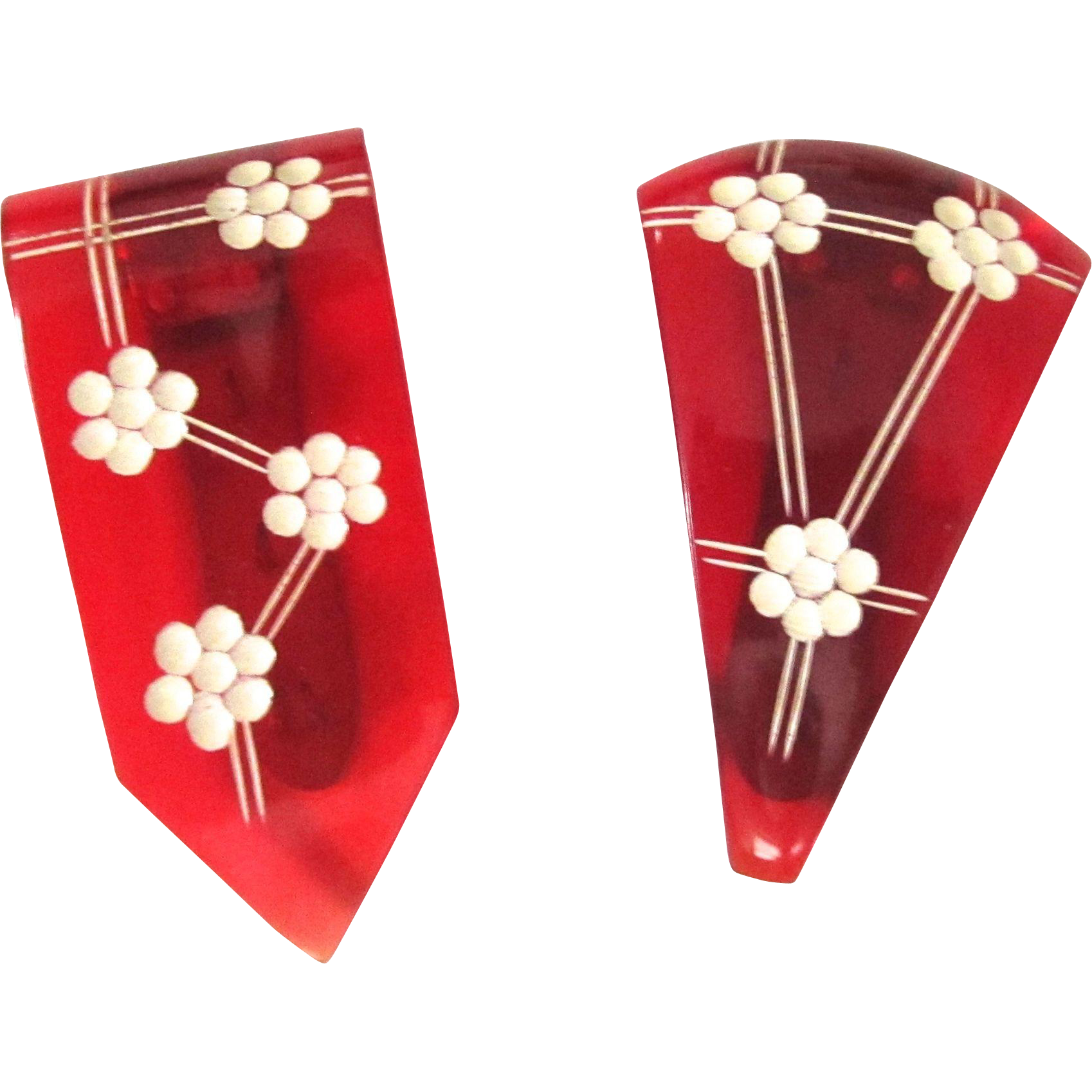 Red Transparent Carved and Painted Bakelite Prystal Dress Clips