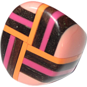 Vintage Plastic and Wood Inlaid Geometric Ring Size 7.5