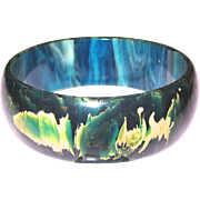 Nicely Marbled Blue Moon Bakelite Bangle Bracelet