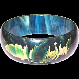 Nicely Marbled Blue Moon Bakelite Bangle Bracelet