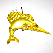 Apple Juice Bakelite Figural Swordfish Pin