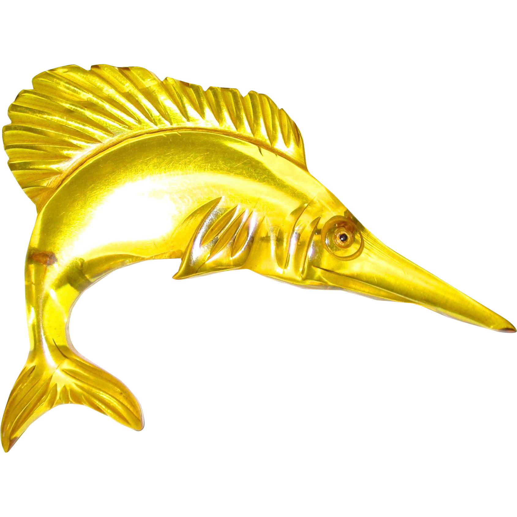 Apple Juice Bakelite Figural Swordfish Pin