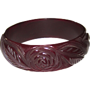 Beautifully Carved Floral Bakelite Bangle Bracelet