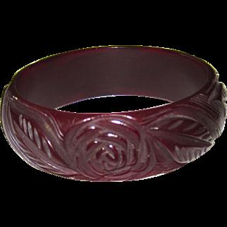Beautifully Carved Floral Bakelite Bangle Bracelet