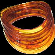 Set of Six Marbled Tea Bakelite Bangle Bracelets -- Curved and Stacking