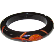 Carved Deco Black Cut-Back  Resin-Washed Bakelite Bangle Bracelet
