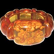 Reverse Carved Apple Juice Bakelite Stretchy Bracelet
