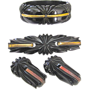 Demi-Parure  Carved Bakelite Hinge Bracelet with Matching Pin/ Brooch and Dress Clips