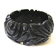 Heavily Deeply Carved and Pierced Black Bakelite Bangle Bracelet