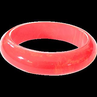 Salmon Pink Marbled Bakelite Bangle Bracelet