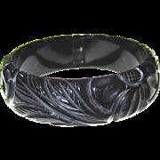 Delicately Carved Black Bakelite Bangle Bracelet