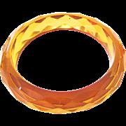 Transparent Golden Apple Juice Bakelite Faceted Bakelite Bangle Bracelet
