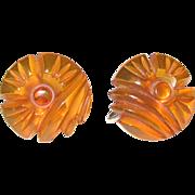 Floral Carved Golden Apple Juice Bakelite Screw-back Earrings