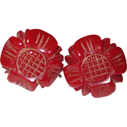 Deep Red Floral Carved Bakelite Screw-back Earrings