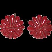 Dark Red Floral Carved Bakelite Screw-back Earrings