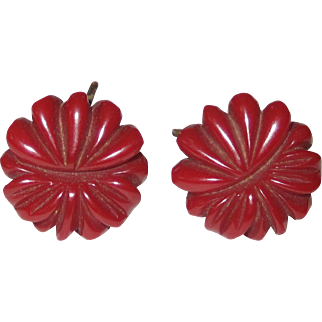 Dark Red Floral Carved Bakelite Screw-back Earrings