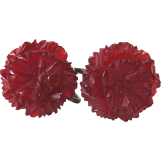Intricately Carved Translucent Deep Red Bakelite Screw-back Earrings