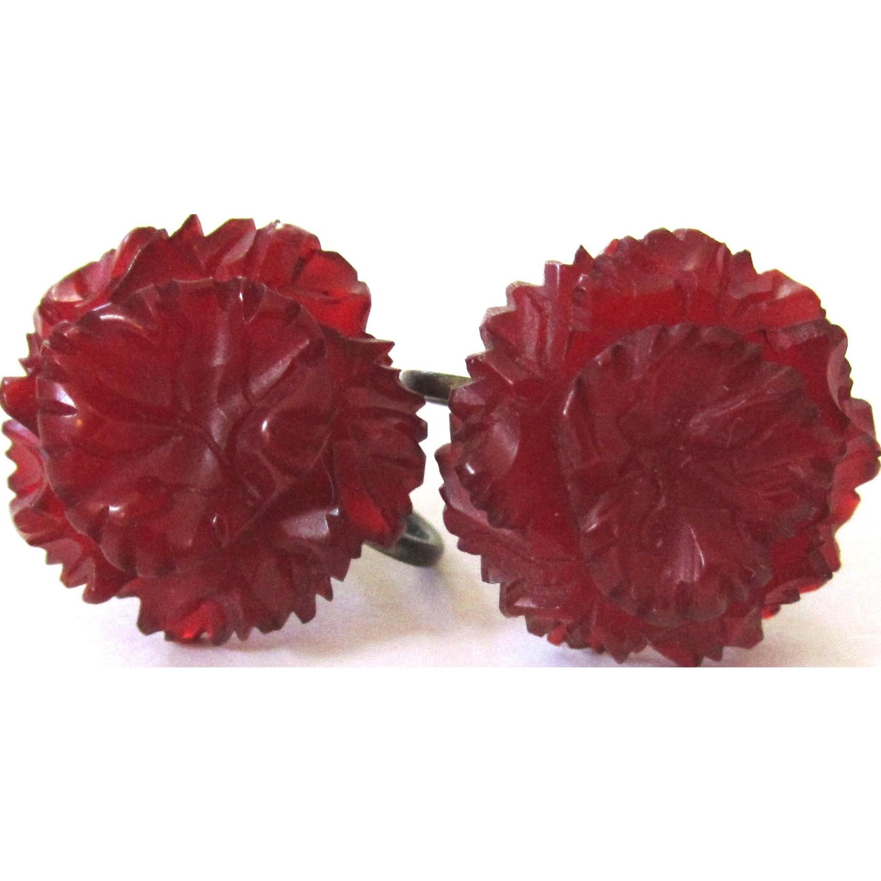 Intricately Carved Translucent Deep Red Bakelite Screw-back Earrings