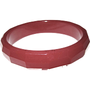 Deep Red Vintage Faceted Bakelite Bangle Bracelet