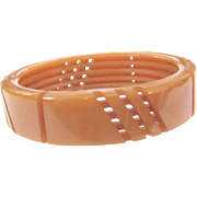 Unusual Front and Back-Carved Vintage Bakelite Bangle Deco Style