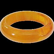 Orangeade Translucent Marbled Bakelite Bangle Bracelet Vintage with Original Tag and Box