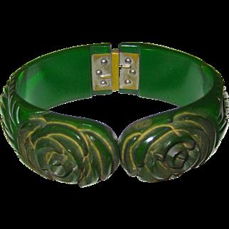 Translucent Emerald Green Deeply Carved Bakelite Hinge Clamper Bracelet