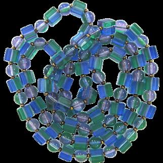 Long Blue, Purple, and Green Vintage Lucite Cube Bead Necklace 1960s Best Plastics
