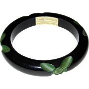 Signed Resin-Washed Cut-Back Carved Bakelite Bangle Bracelet