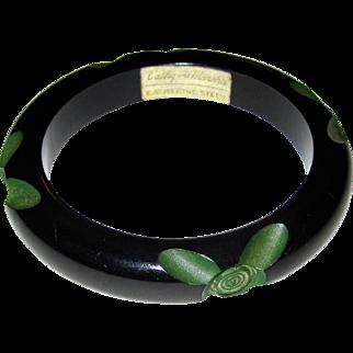 Signed Resin-Washed Cut-Back Carved Bakelite Bangle Bracelet