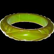 Green Geometric Carved Bakelite Bangle Bracelet