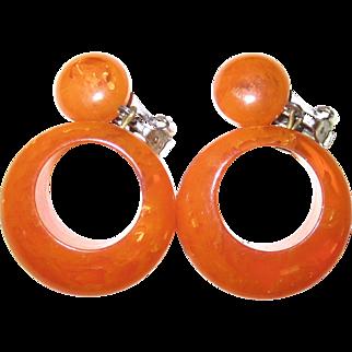Orange Marmalade Bakelite Dangling Hoop Clip Earrings