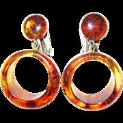 Root Beer Marbled Bakelite Dangling Hoop Clip Earrings