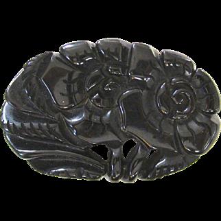 Large Floral Pierced and Carved Black Bakelite Pin Brooch