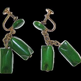 Green Bakelite Dangle Earrings Screw-backs