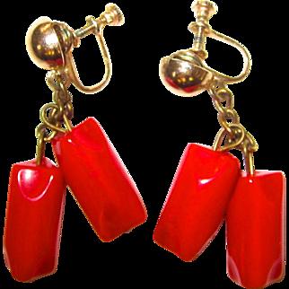 Red Dangling Bakelite Screw-back Earrings