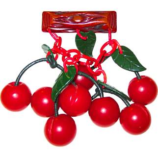 Bakelite and Celluloid Cherry Pin Brooch
