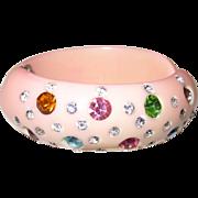 Pale Pink Unsigned Weiss Rhinestone Hinge Clamper Bracelet