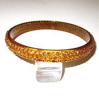 Topaz-Colored Celluloid Rhinestone Sparkle Bangle Bracelet