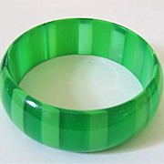 1960s Green on Green Lucite Bangle Bracelet