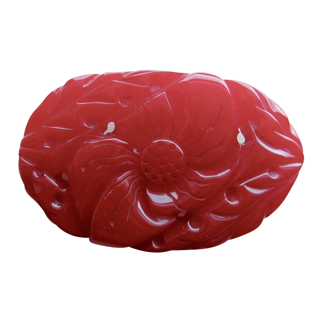 Glorious Red Deeply Carved Pierced Bakelite Brooch Pin
