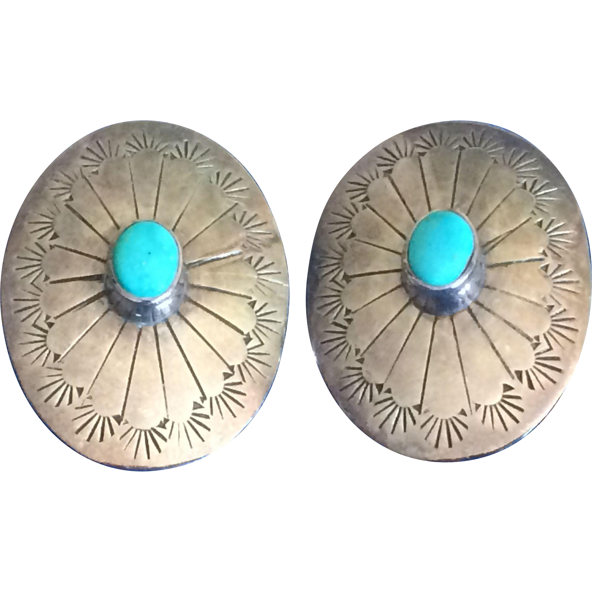 Vintage concho silver and turquoise earrings