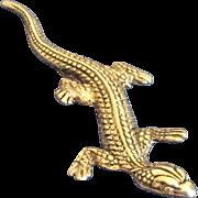 Vintage Southwestern sterling silver lizard pin